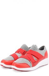 Комбинированные кроссовки с эластичными лентами DKNY