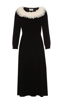 Приталенное платье-миди с контрастной кружевной отделкой Saint Laurent