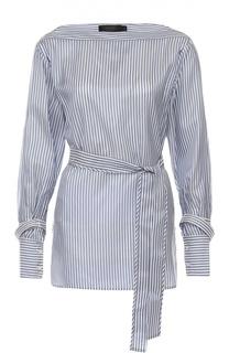 Блуза в полоску с поясом и вырезом-лодочка Calvin Klein Collection