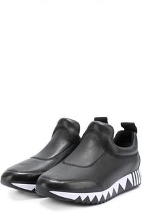 Кожаные кроссовки на подошве с принтом Tory Burch