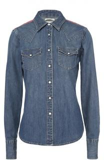 Приталенная джинсовая блуза с контрастной отделкой на спинке Denim&Supply by Ralph Lauren