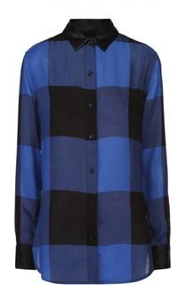 Блуза прямого кроя в клетку с шелковой отделкой воротника Rag&Bone Rag&Bone