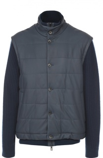 Утепленная кожаная куртка с рукавами из кашемира Loro Piana