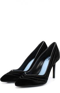 Замшевые туфли с прострочкой Lanvin