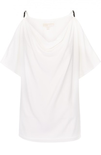 Топ прямого кроя с открытыми плечами и декоративной отделкой Michael Michael Kors