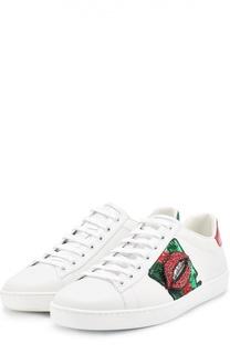 Кожаные кеды New Ace с аппликацией Gucci