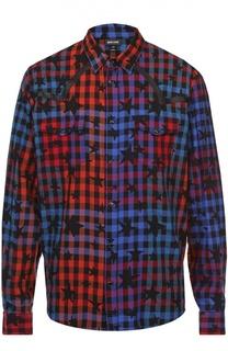 Хлопковая рубашка на кнопках с принтом Just Cavalli