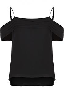 Шелковый топ с открытыми плечами и оборками T by Alexander Wang