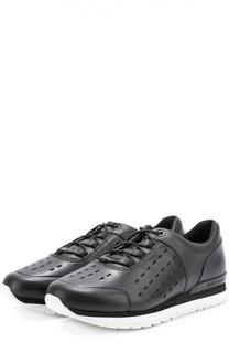 Кожаные кроссовки с перфорацией DKNY