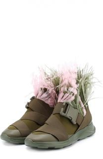 Комбинированные кроссовки с отделкой пером страуса Christopher Kane