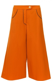 Укороченные расклешенные брюки с контрастной отделкой Walk of Shame