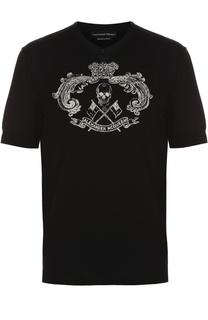 Хлопковая футболка хенли с принтом Alexander McQueen