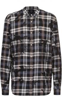 Хлопковая рубашка на кнопках с декоративной отделкой Just Cavalli