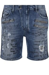 Джинсовые шорты с потертостями и надписями Just Cavalli