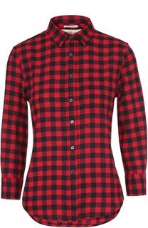 Приталенная блуза в клетку с укороченным рукавом Denim&Supply by Ralph Lauren