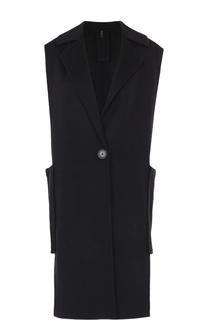 Удлиненный жилет с накладными карманами и широкими лацканами Helmut Lang