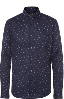 Хлопковая рубашка с итальянским воротником Armani Jeans