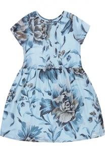 Платье из шелка с цветочным принтом Burberry