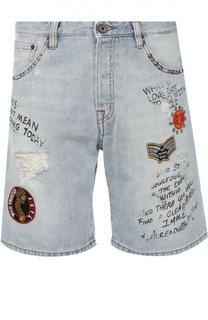 Джинсовые шорты с нашивками и надписями Just Cavalli