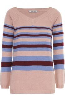 Кашемировый пуловер в контрастную полоску с V-образным вырезом Valentino