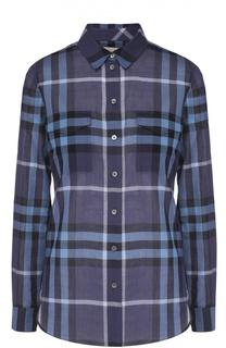 Приталенная блуза в клетку с накладными карманами Burberry