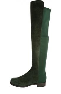 Комбинированные ботфорты на устойчивом каблуке Stuart Weitzman