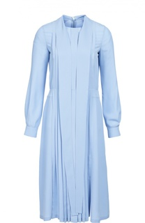 Приталенное платье с воротником аскот и плиссированной юбкой No. 21