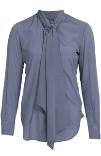 Шелковая блуза в горошек с воротником аскот Kiton