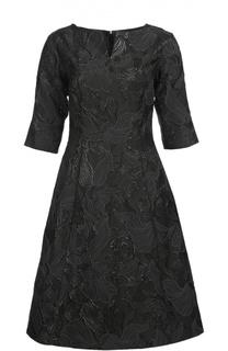 Приталенное платье с укороченным рукавом и фактурной отделкой Oscar de la Renta