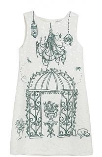 Платье из вискозы и хлопка с принтом Dolce & Gabbana