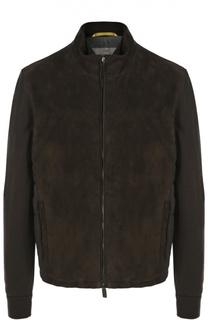 Куртка из замши с шерстяными рукавами Canali