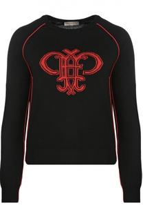 Шерстяной пуловер с круглым вырезом и ярким принтом Emilio Pucci