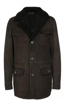 Однобортное пальто из овчины Lanvin