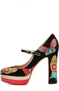 Замшевые туфли Japanese Butterfly с кожаными принтами Valentino