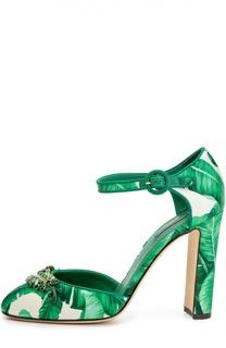 Шелковые туфли Vally с принтом и брошью Dolce & Gabbana