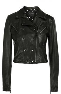 Кожаная укороченная куртка с косой молнией Dolce & Gabbana