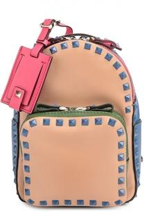 Маленький рюкзак Rockstud из комбинированной кожи Valentino