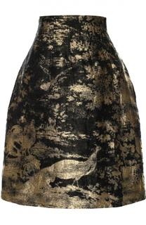 Мини-юбка с металлизированной отделкой Oscar de la Renta
