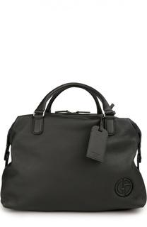 Дорожная сумка из текстурированной кожи Giorgio Armani