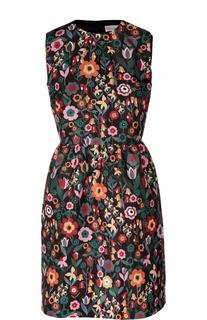 Приталенное мини-платье без рукавов с цветочным принтом REDVALENTINO