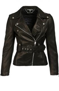 Приталенная кожаная куртка с косой молнией Alexander McQueen