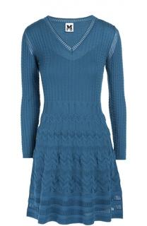 Приталенное мини-платье с длинным рукавом и V-образным вырезом M Missoni