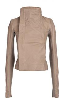 Укороченная кожаная куртка с косой молнией и высоким воротником Rick Owens