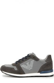Замшевые кроссовки с сетчатыми вставками Giorgio Armani