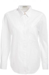 Хлопковая блуза прямого кроя с накладным карманом Balenciaga