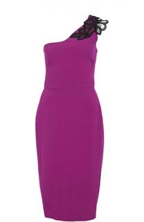 Асимметричное платье-футляр с кружевной вставкой Victoria Beckham