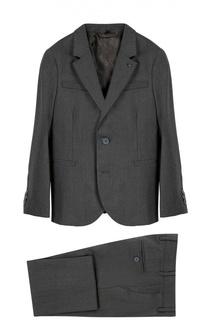 Шерстяной костюм с пиджаком на двух пуговицах Giorgio Armani