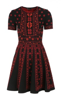 Приталенное мини-платье с круглым вырезом и ярким принтом Alexander McQueen