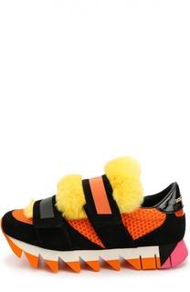 Комбинированные кроссовки Capri с меховой отделкой Dolce & Gabbana