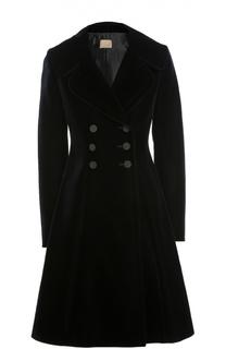 Бархатное приталенное пальто с контрастными пуговицами Alaia